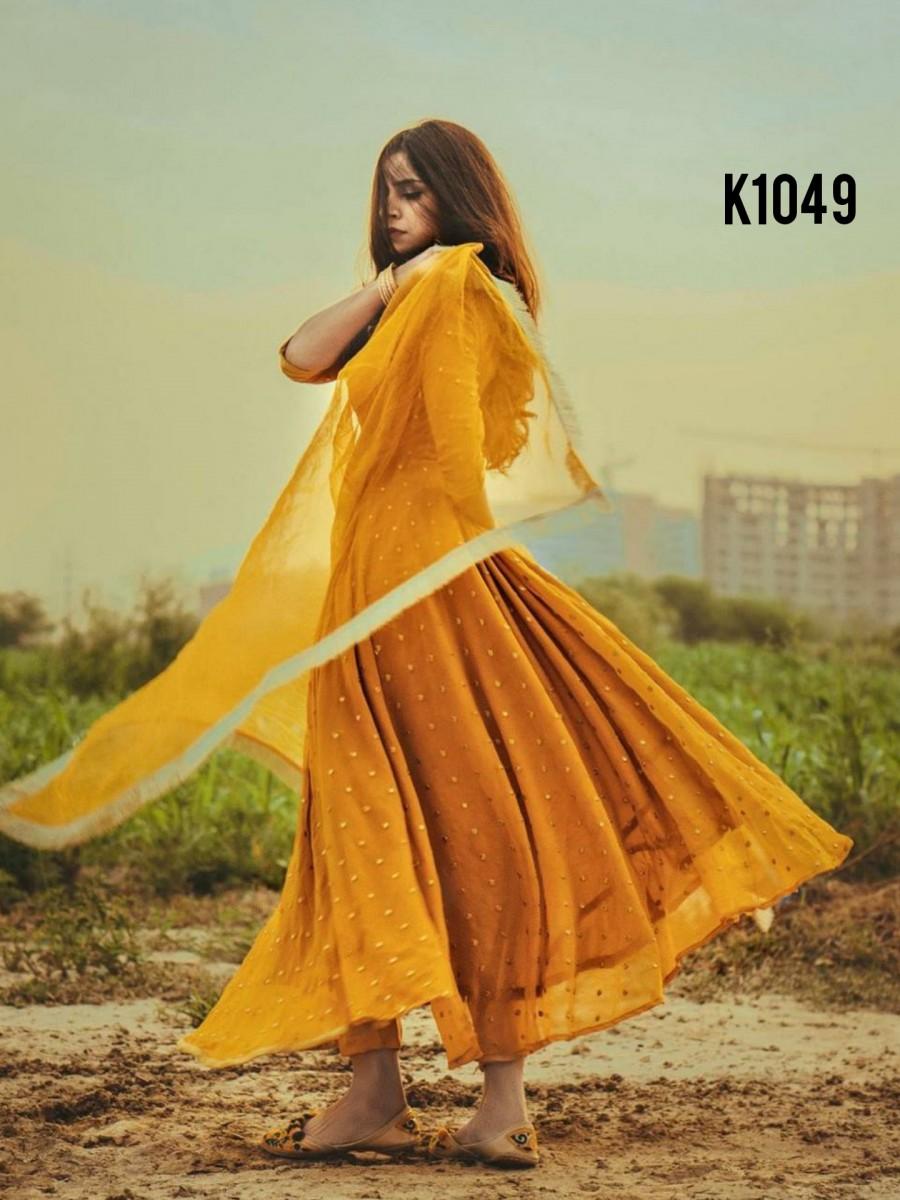 Yellow anarkali K1049